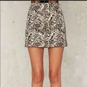 Nasty Gal Mini Skirt Gold and Black Size 6